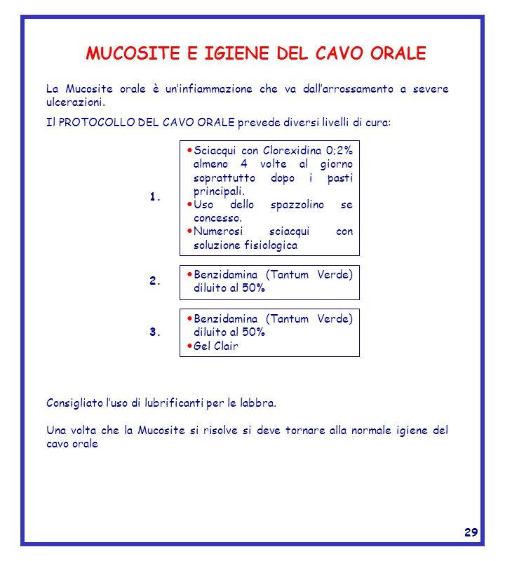 MUCOSITE E IGIENE DEL CAVO ORALE