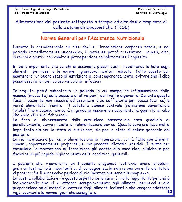 Norme Generali per l'Assistenza Nutrizionale