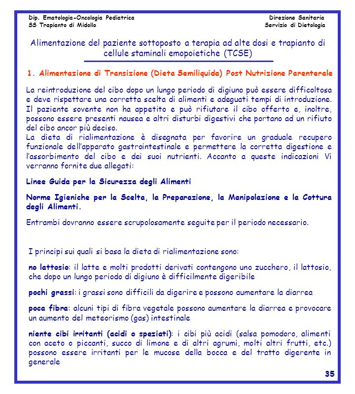 Dip. Ematologia-Oncologia Pediatrica Direzione Sanitaria