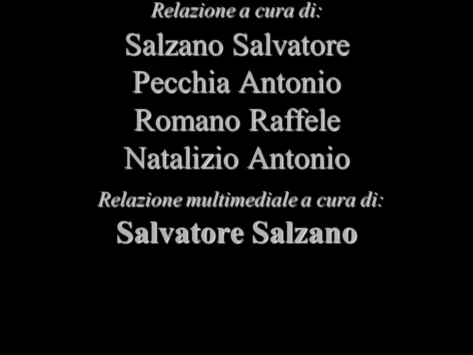 Relazione a cura di: Salzano Salvatore Pecchia Antonio Romano Raffele Natalizio Antonio Relazione multimediale a cura di: Salvatore Salzano