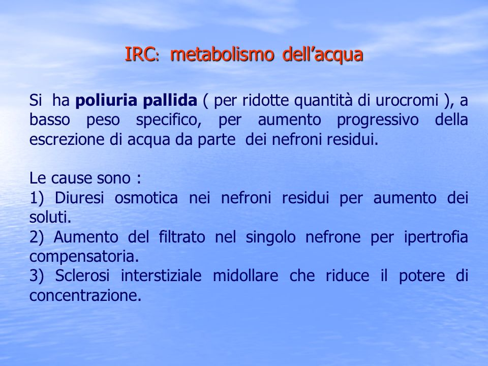 IRC: metabolismo dell'acqua