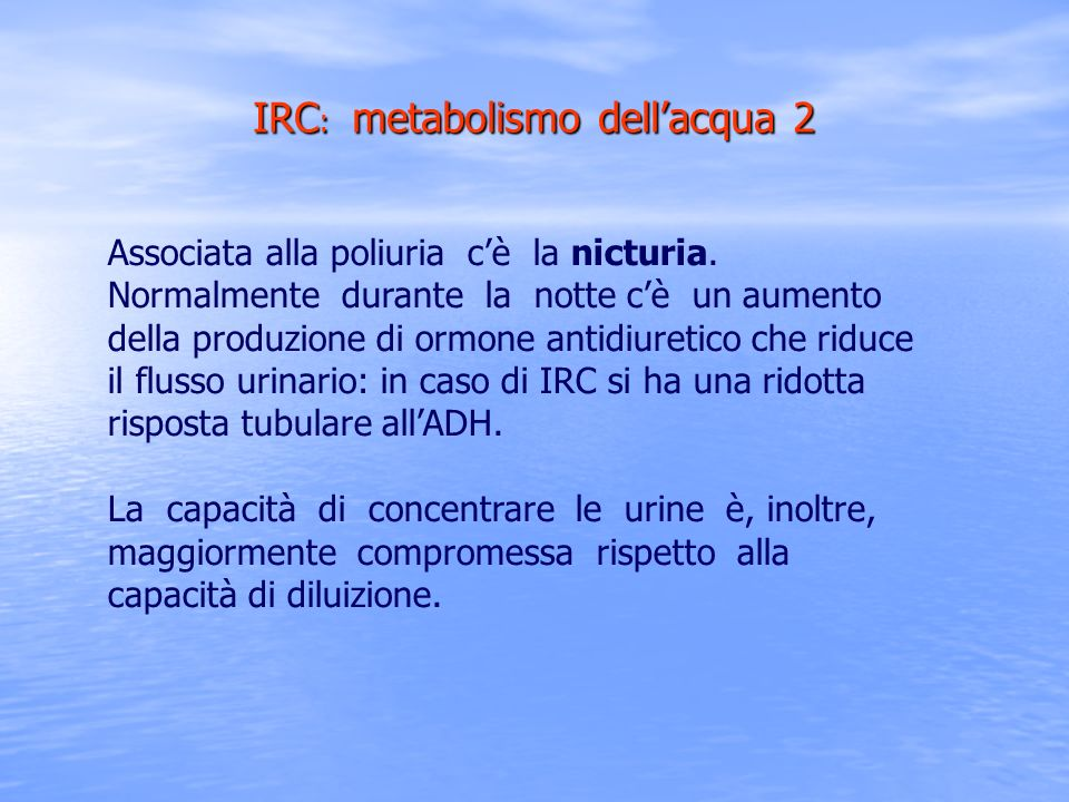 IRC: metabolismo dell'acqua 2
