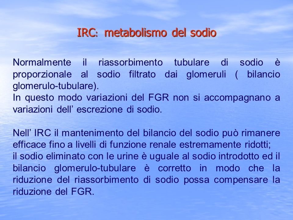 IRC: metabolismo del sodio