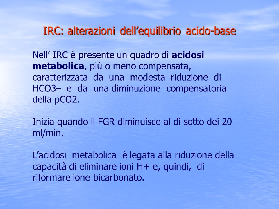IRC: alterazioni dell'equilibrio acido-base