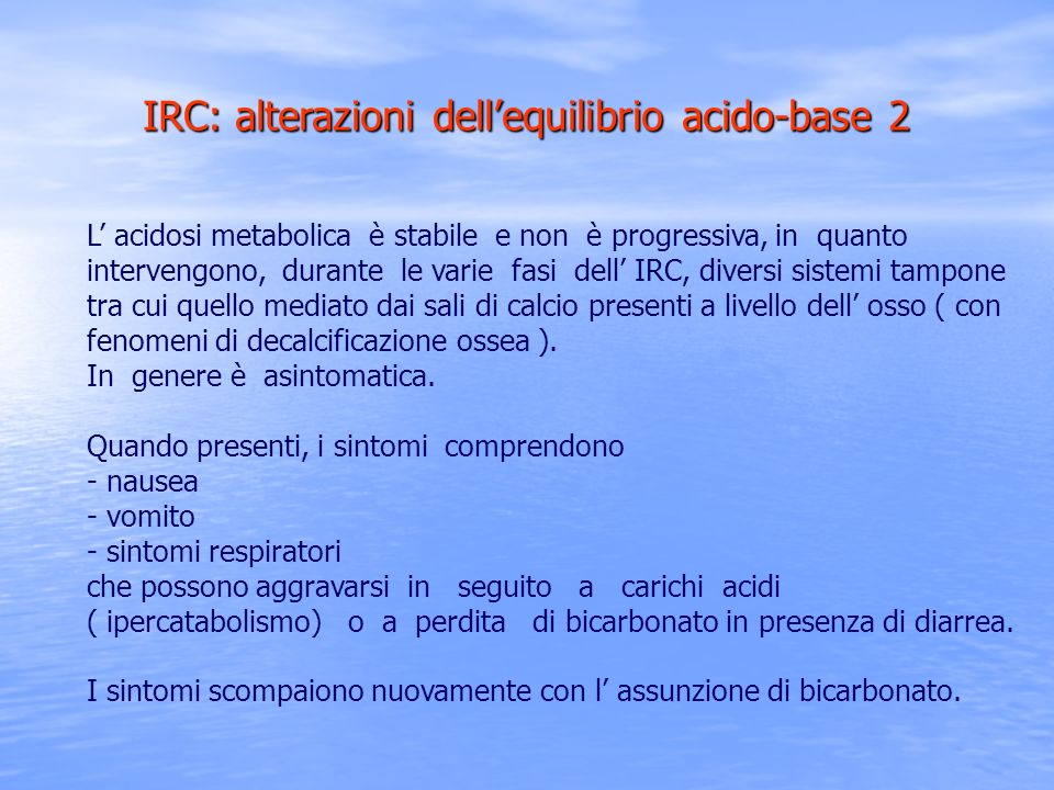 IRC: alterazioni dell'equilibrio acido-base 2