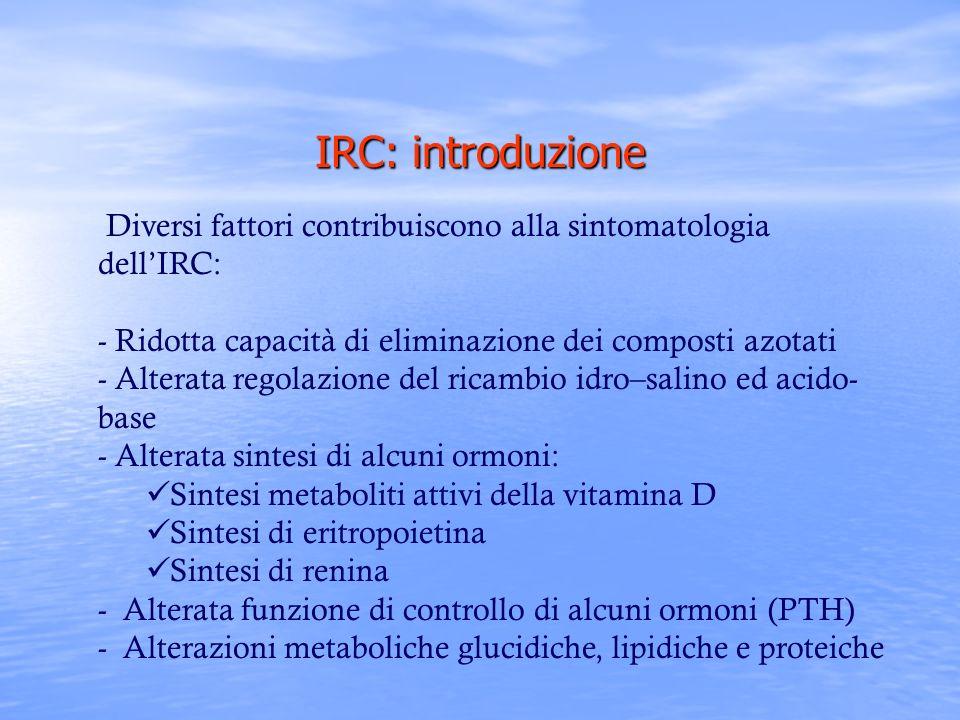 IRC: introduzione Diversi fattori contribuiscono alla sintomatologia dell'IRC: Ridotta capacità di eliminazione dei composti azotati.
