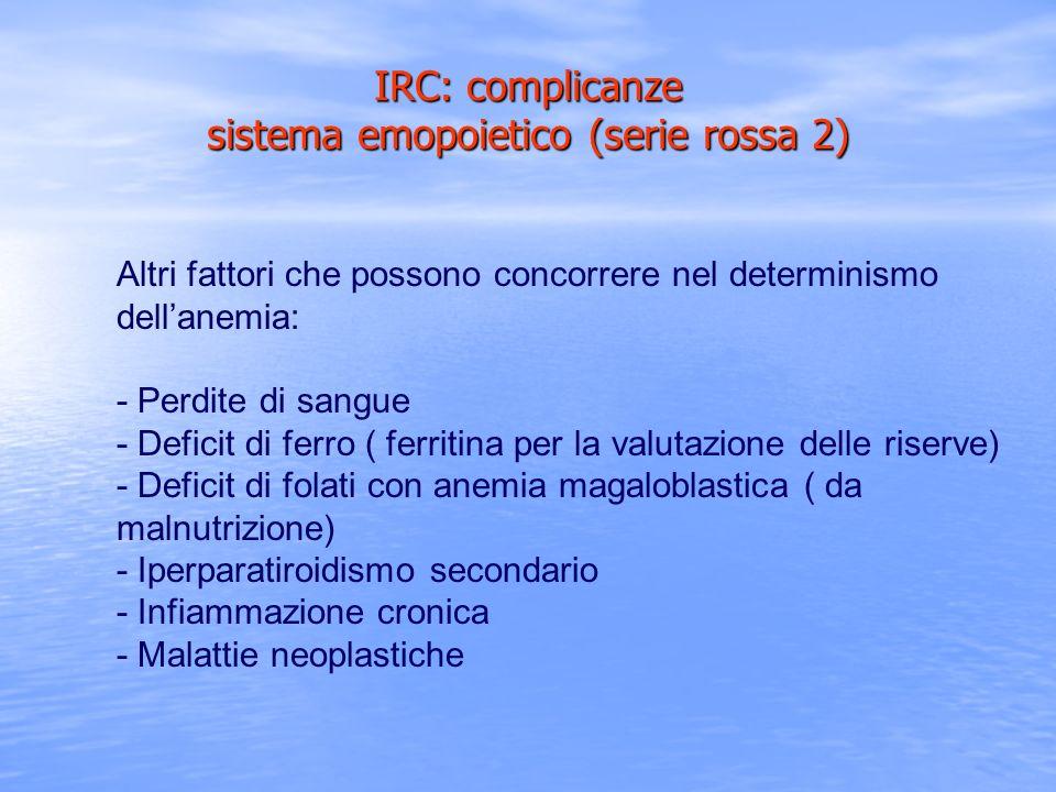 IRC: complicanze sistema emopoietico (serie rossa 2)