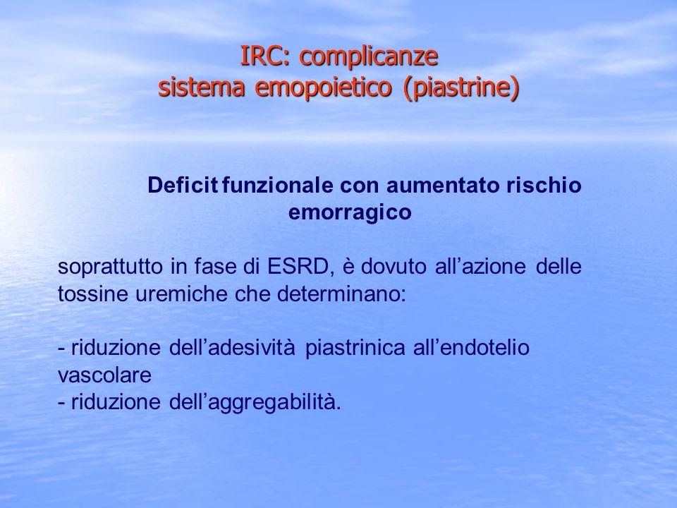 IRC: complicanze sistema emopoietico (piastrine)