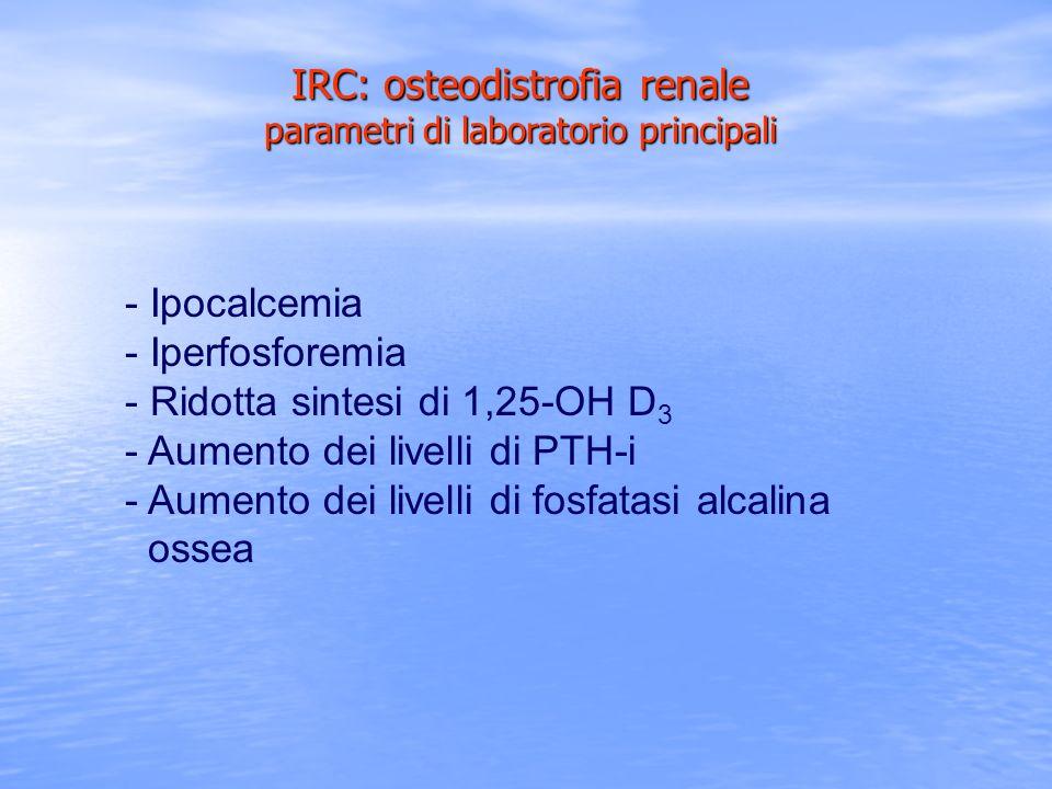 IRC: osteodistrofia renale parametri di laboratorio principali