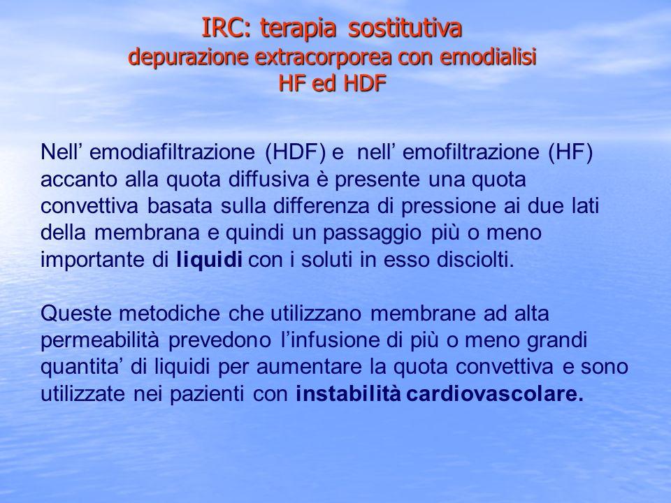 IRC: terapia sostitutiva depurazione extracorporea con emodialisi HF ed HDF