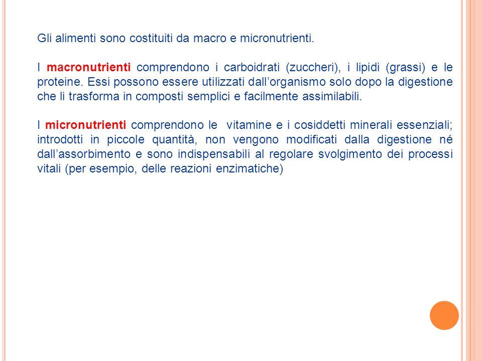 Gli alimenti sono costituiti da macro e micronutrienti.