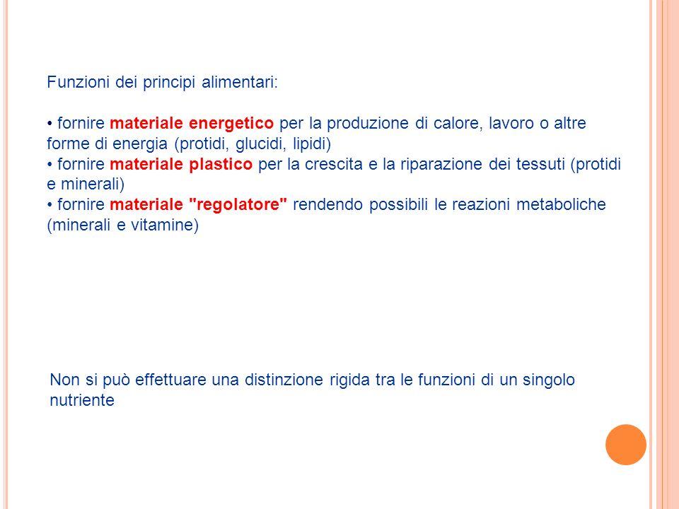 Funzioni dei principi alimentari: