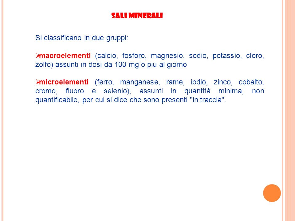sali minerali Si classificano in due gruppi: