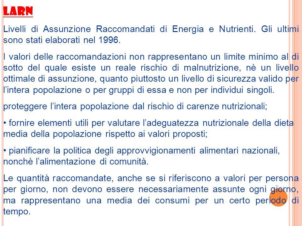 LARN Livelli di Assunzione Raccomandati di Energia e Nutrienti. Gli ultimi sono stati elaborati nel 1996.
