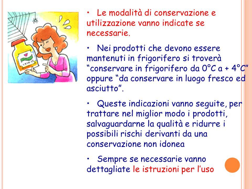 Le modalità di conservazione e utilizzazione vanno indicate se necessarie.