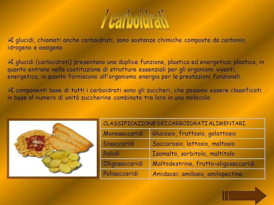 I carboidrati I glucidi, chiamati anche carboidrati, sono sostanze chimiche composte da carbonio, idrogeno e ossigeno.