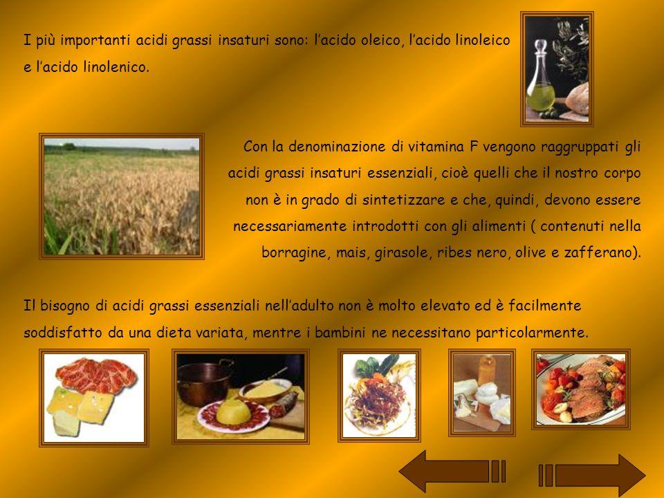 I più importanti acidi grassi insaturi sono: l'acido oleico, l'acido linoleico