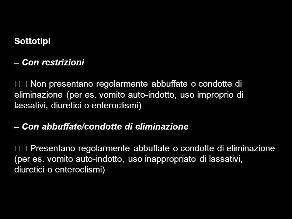 Sottotipi – Con restrizioni.  Non presentano regolarmente abbuffate o condotte di. eliminazione (per es. vomito auto-indotto, uso improprio di.