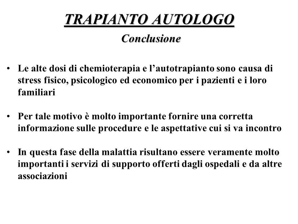 TRAPIANTO AUTOLOGO Conclusione