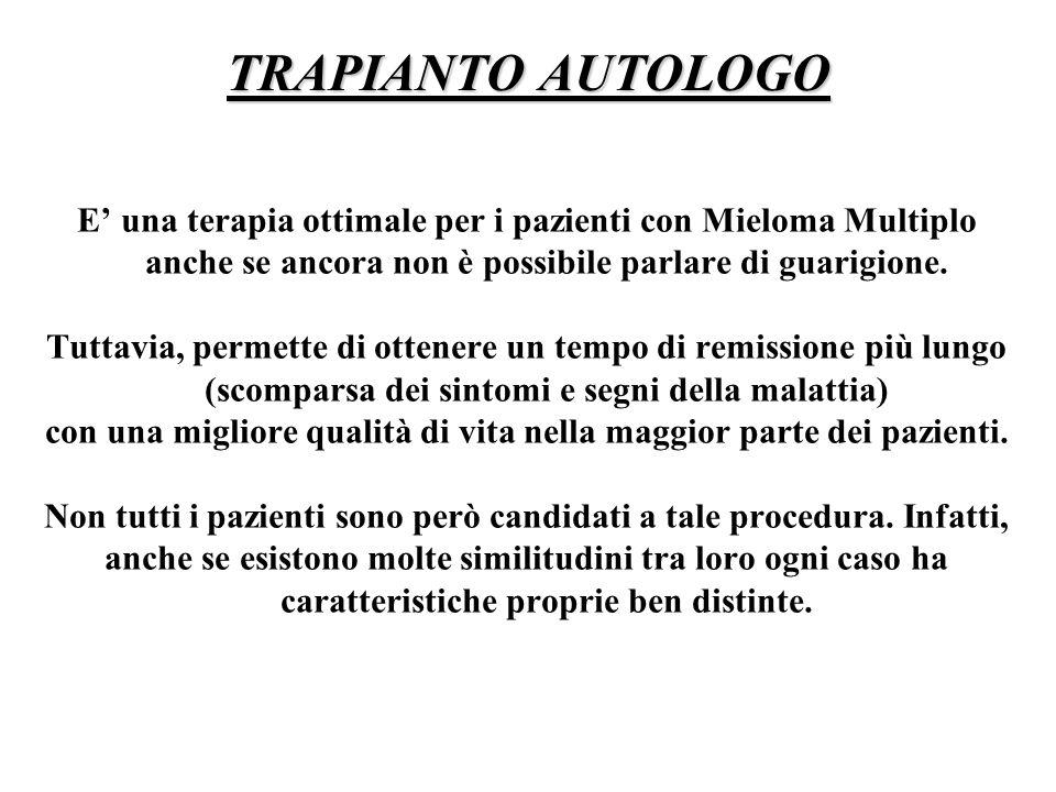TRAPIANTO AUTOLOGO E' una terapia ottimale per i pazienti con Mieloma Multiplo anche se ancora non è possibile parlare di guarigione.