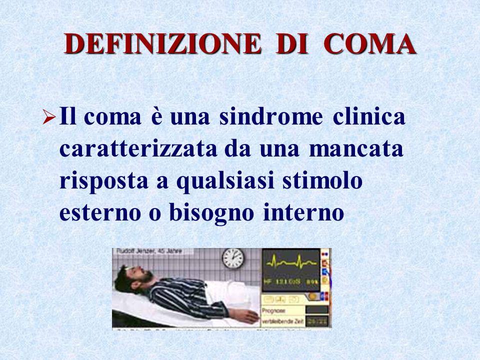 DEFINIZIONE DI COMA Il coma è una sindrome clinica caratterizzata da una mancata risposta a qualsiasi stimolo esterno o bisogno interno.