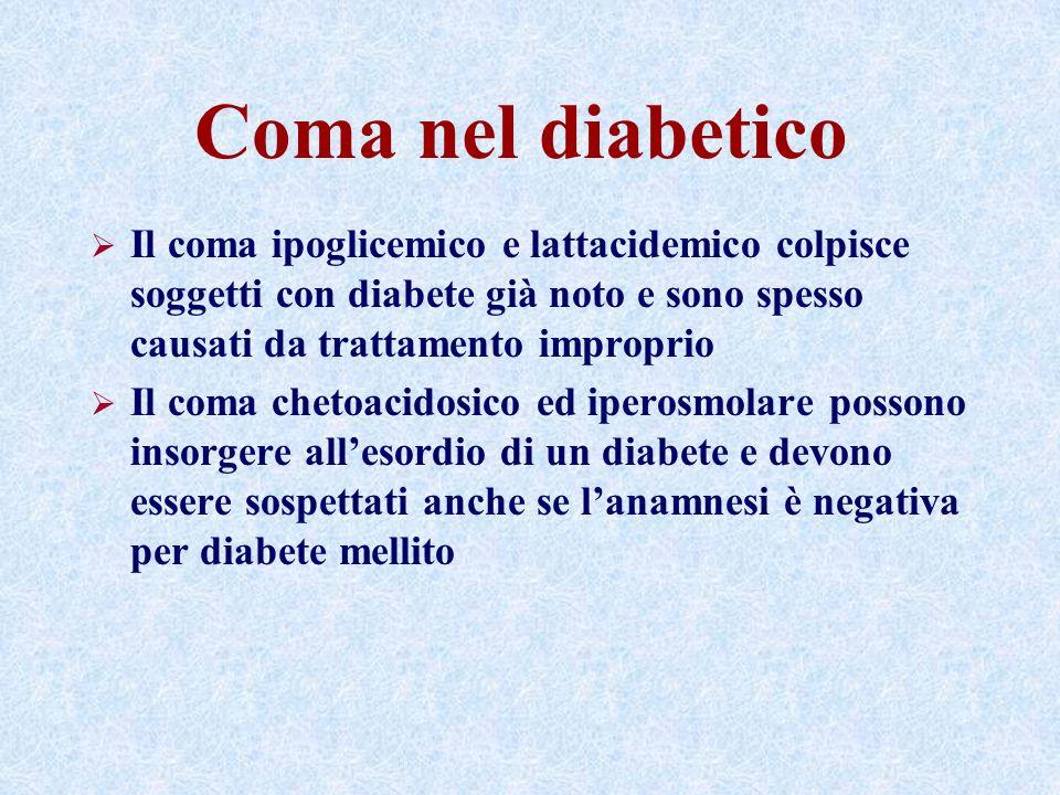 Coma nel diabetico Il coma ipoglicemico e lattacidemico colpisce soggetti con diabete già noto e sono spesso causati da trattamento improprio.