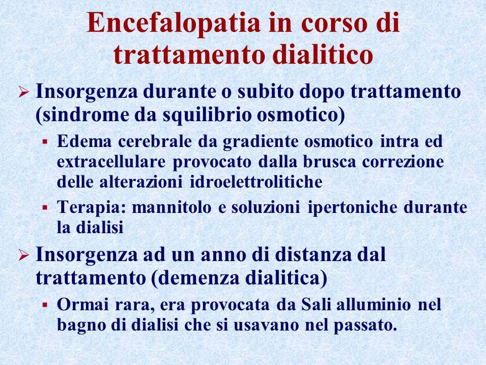 Encefalopatia in corso di trattamento dialitico