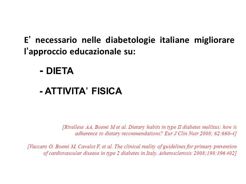 E' necessario nelle diabetologie italiane migliorare l'approccio educazionale su: - DIETA - ATTIVITA' FISICA
