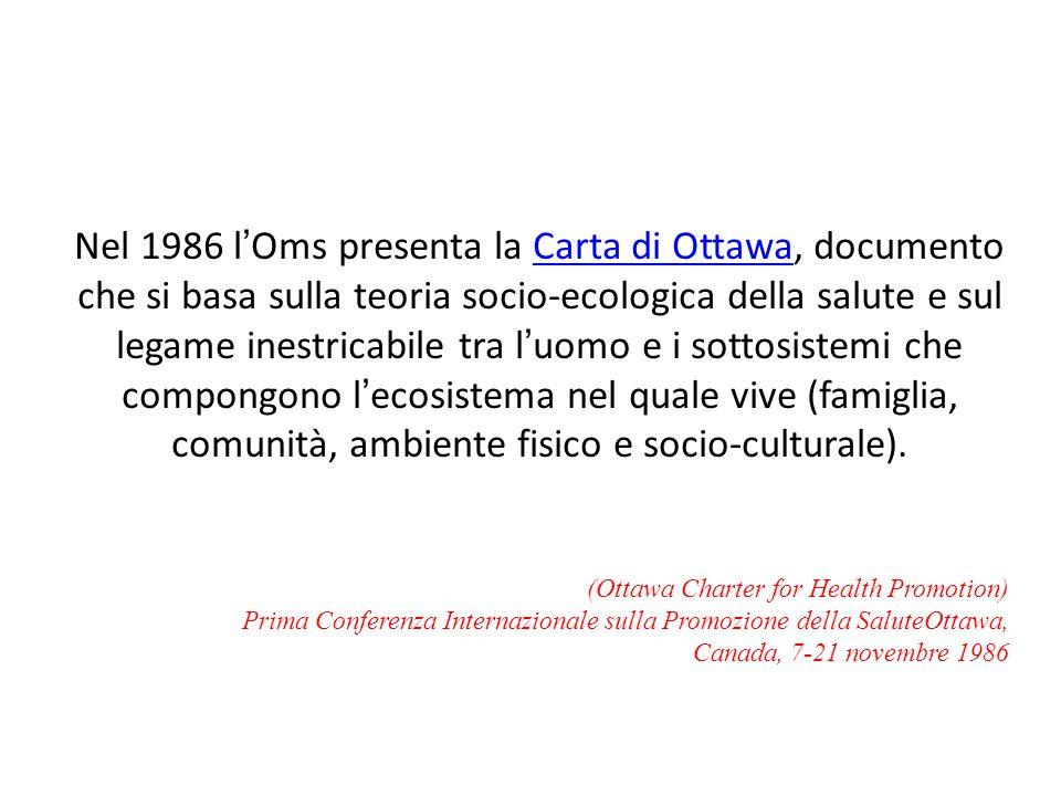 Nel 1986 l'Oms presenta la Carta di Ottawa, documento che si basa sulla teoria socio-ecologica della salute e sul legame inestricabile tra l'uomo e i sottosistemi che compongono l'ecosistema nel quale vive (famiglia, comunità, ambiente fisico e socio-culturale).
