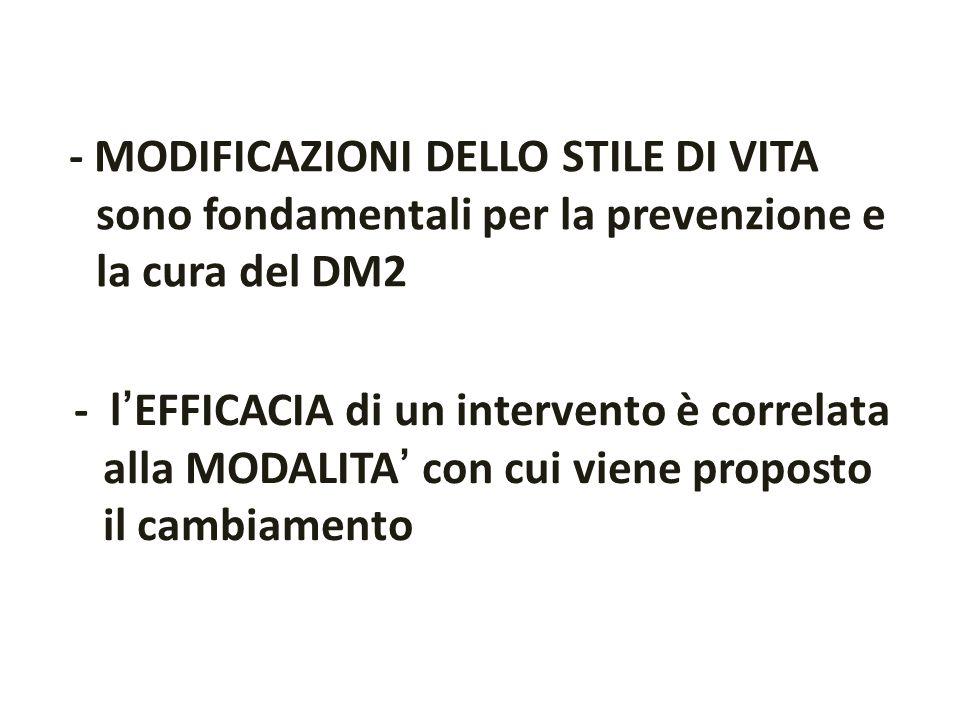 - MODIFICAZIONI DELLO STILE DI VITA sono fondamentali per la prevenzione e la cura del DM2