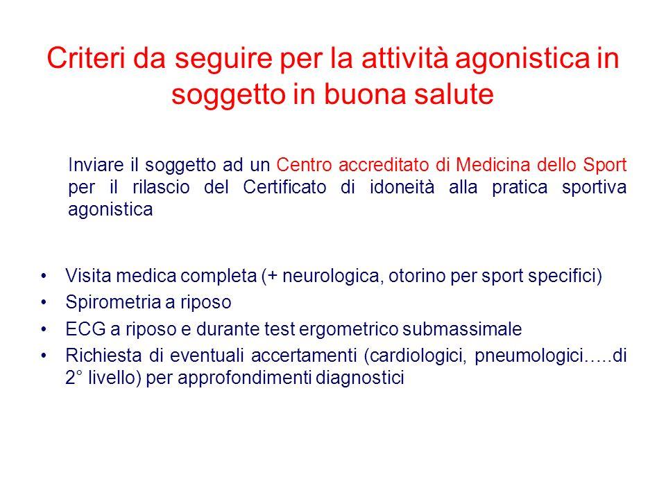 Criteri da seguire per la attività agonistica in soggetto in buona salute