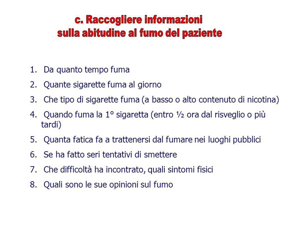 c. Raccogliere informazioni sulla abitudine al fumo del paziente