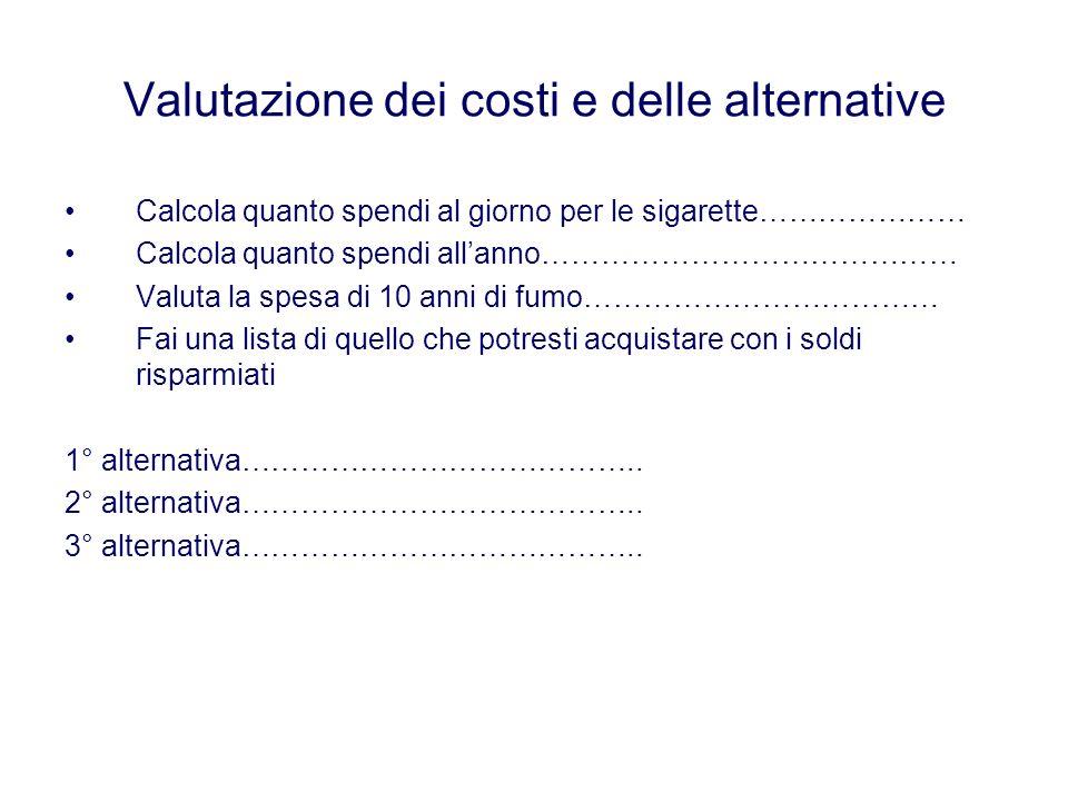 Valutazione dei costi e delle alternative