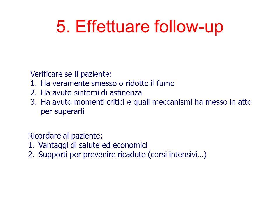 5. Effettuare follow-up Verificare se il paziente: