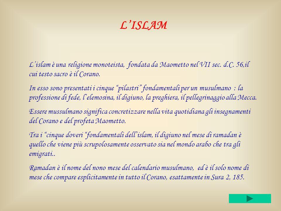 L'ISLAM L'islam è una religione monoteista, fondata da Maometto nel VII sec. d.C. 56,il cui testo sacro è il Corano.