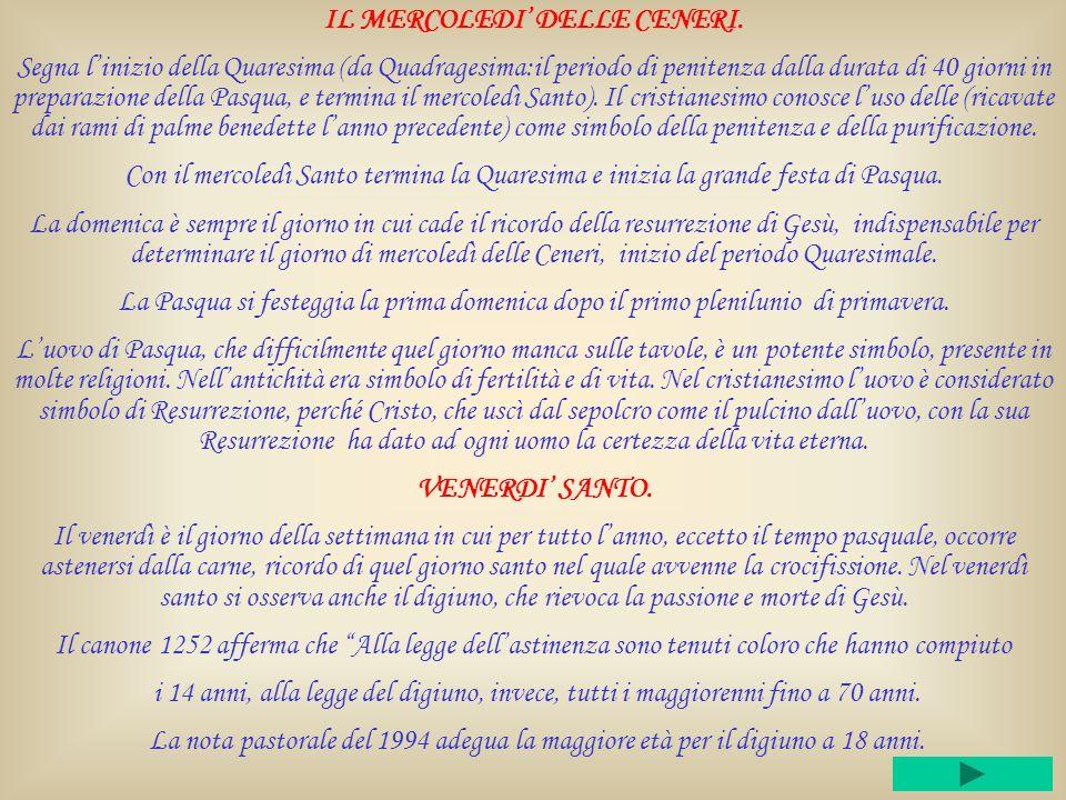 IL MERCOLEDI' DELLE CENERI.