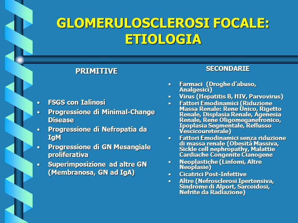 GLOMERULOSCLEROSI FOCALE: ETIOLOGIA