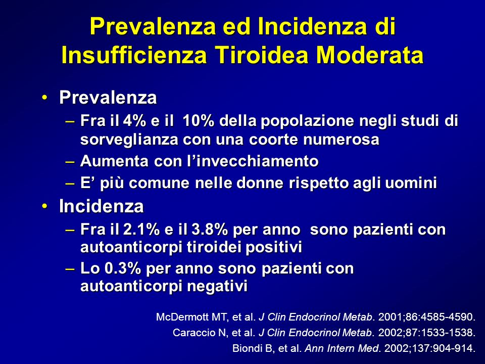 Prevalenza ed Incidenza di Insufficienza Tiroidea Moderata