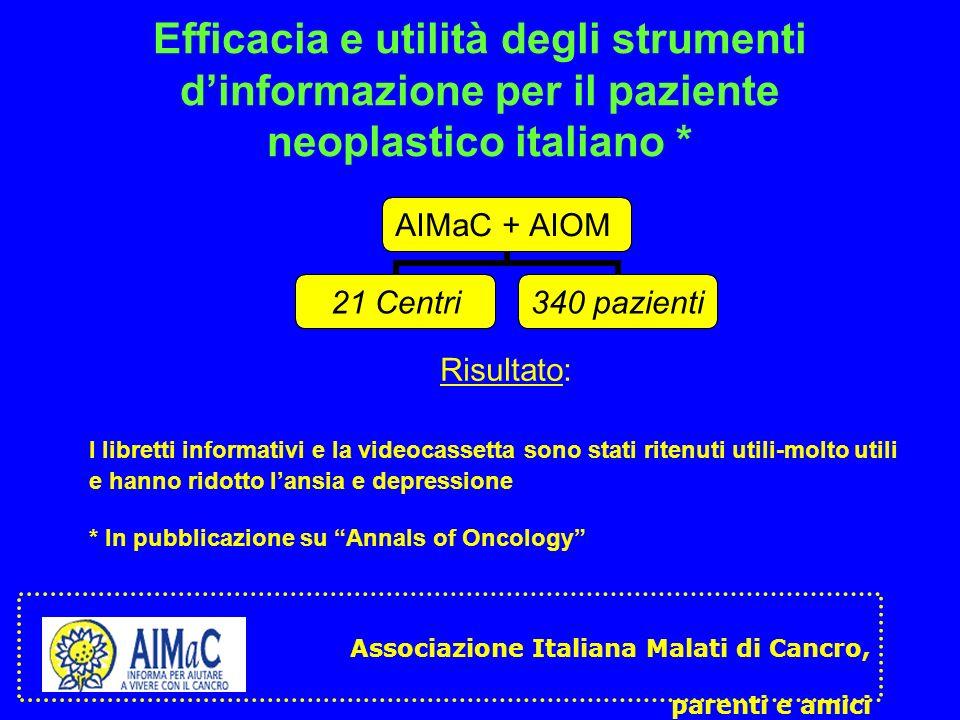 Efficacia e utilità degli strumenti d'informazione per il paziente neoplastico italiano *