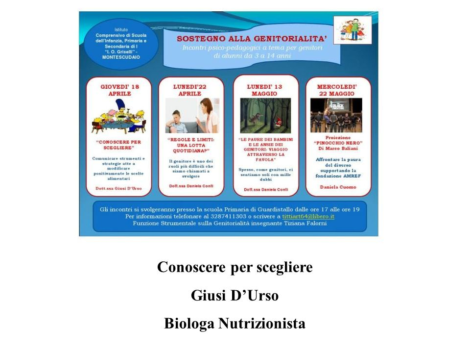 Conoscere per scegliere Biologa Nutrizionista