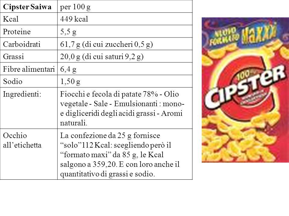 Cipster Saiwa per 100 g. Kcal. 449 kcal. Proteine. 5,5 g. Carboidrati. 61,7 g (di cui zuccheri 0,5 g)