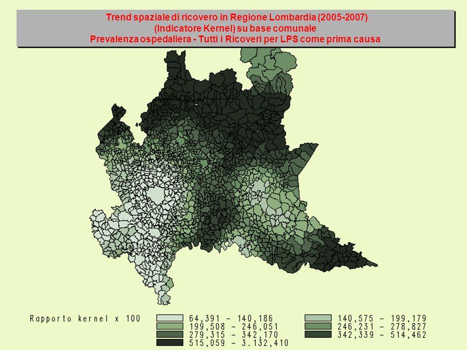 Trend spaziale di ricovero in Regione Lombardia (2005-2007) (Indicatore Kernel) su base comunale Prevalenza ospedaliera - Tutti i Ricoveri per LPS come prima causa