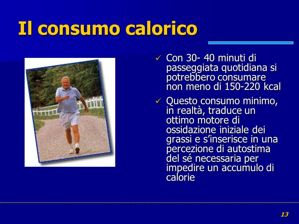 Il consumo calorico Con 30- 40 minuti di passeggiata quotidiana si potrebbero consumare non meno di 150-220 kcal.