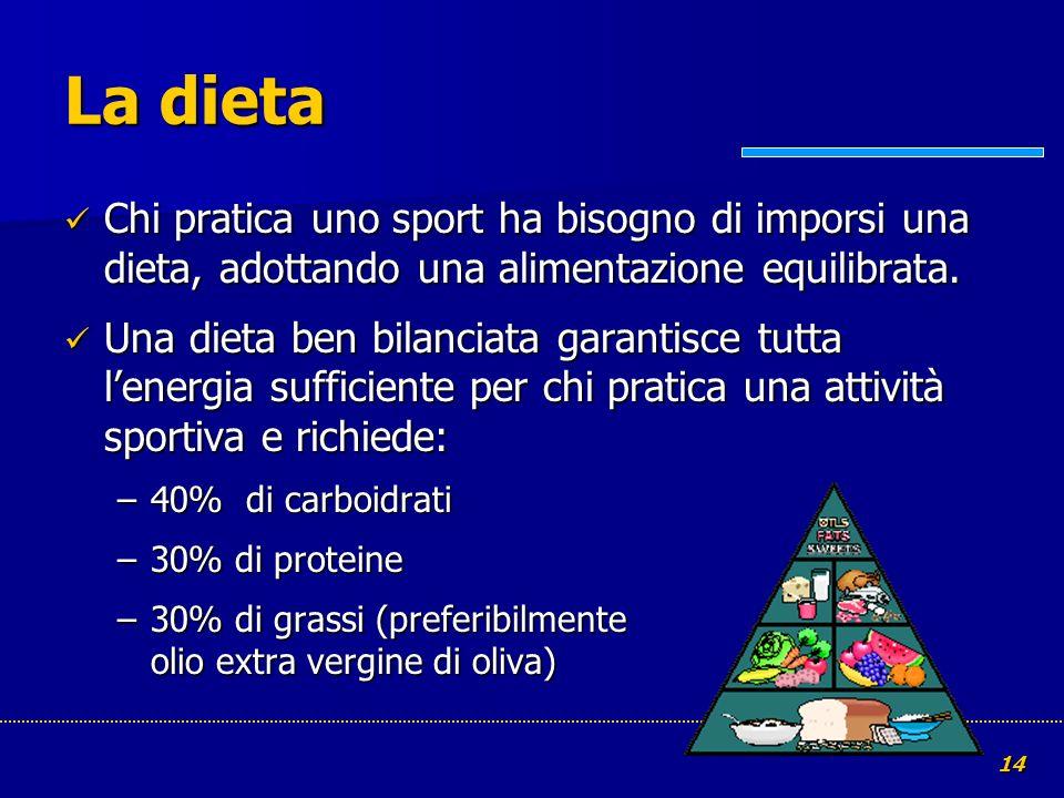 La dieta Chi pratica uno sport ha bisogno di imporsi una dieta, adottando una alimentazione equilibrata.