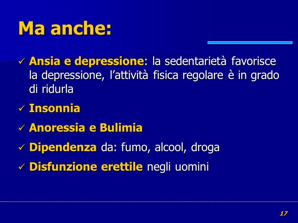 Ma anche: Ansia e depressione: la sedentarietà favorisce la depressione, l'attività fisica regolare è in grado di ridurla.