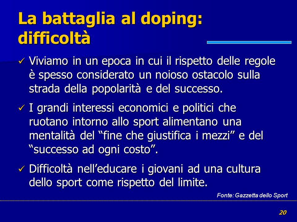 La battaglia al doping: difficoltà
