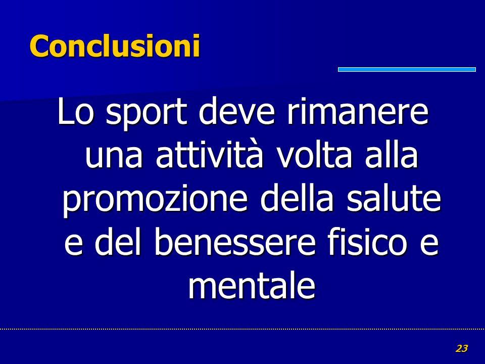 Conclusioni Lo sport deve rimanere una attività volta alla promozione della salute e del benessere fisico e mentale.