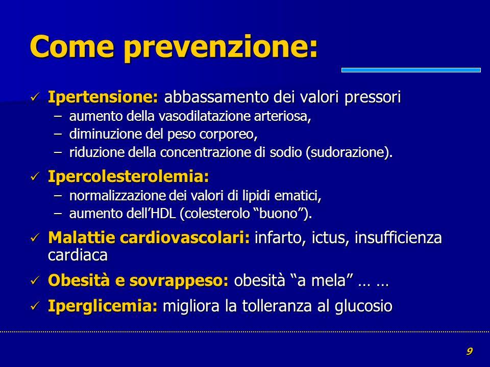 Come prevenzione: Ipertensione: abbassamento dei valori pressori