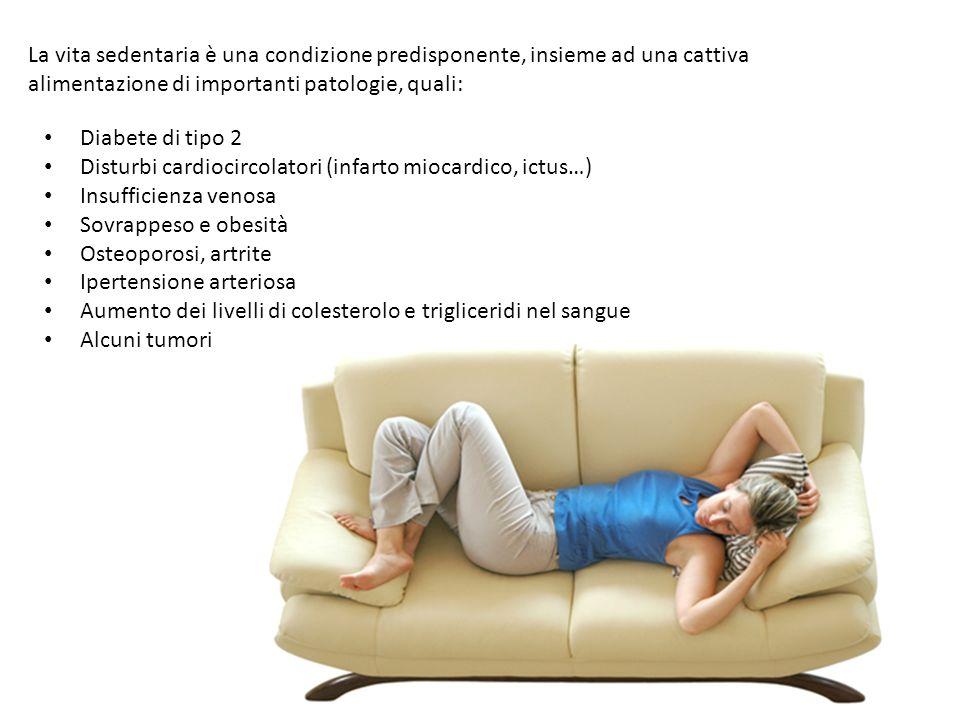 La vita sedentaria è una condizione predisponente, insieme ad una cattiva alimentazione di importanti patologie, quali: