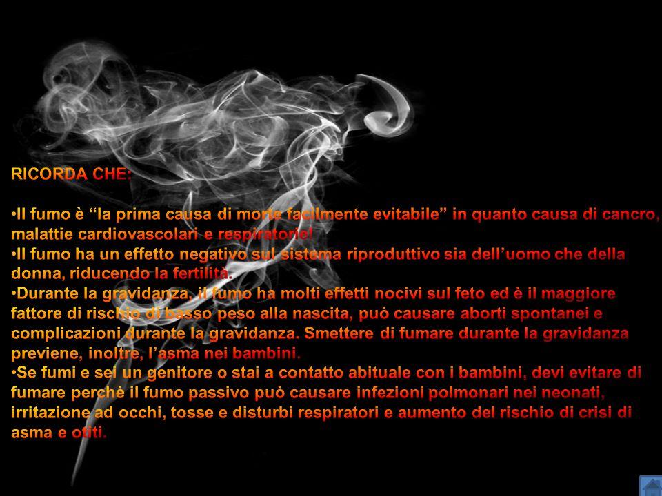 RICORDA CHE: Il fumo è la prima causa di morte facilmente evitabile in quanto causa di cancro, malattie cardiovascolari e respiratorie!